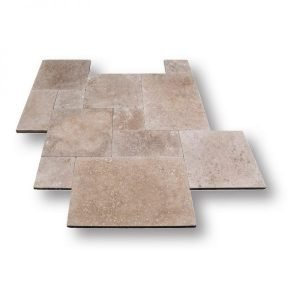 French Pattern Noce Tumbled Travertine Paver
