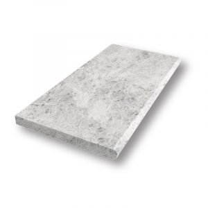 2 inch 12x24 Tundra Grey Sand Blasted Bullnose Marble Pool Coping