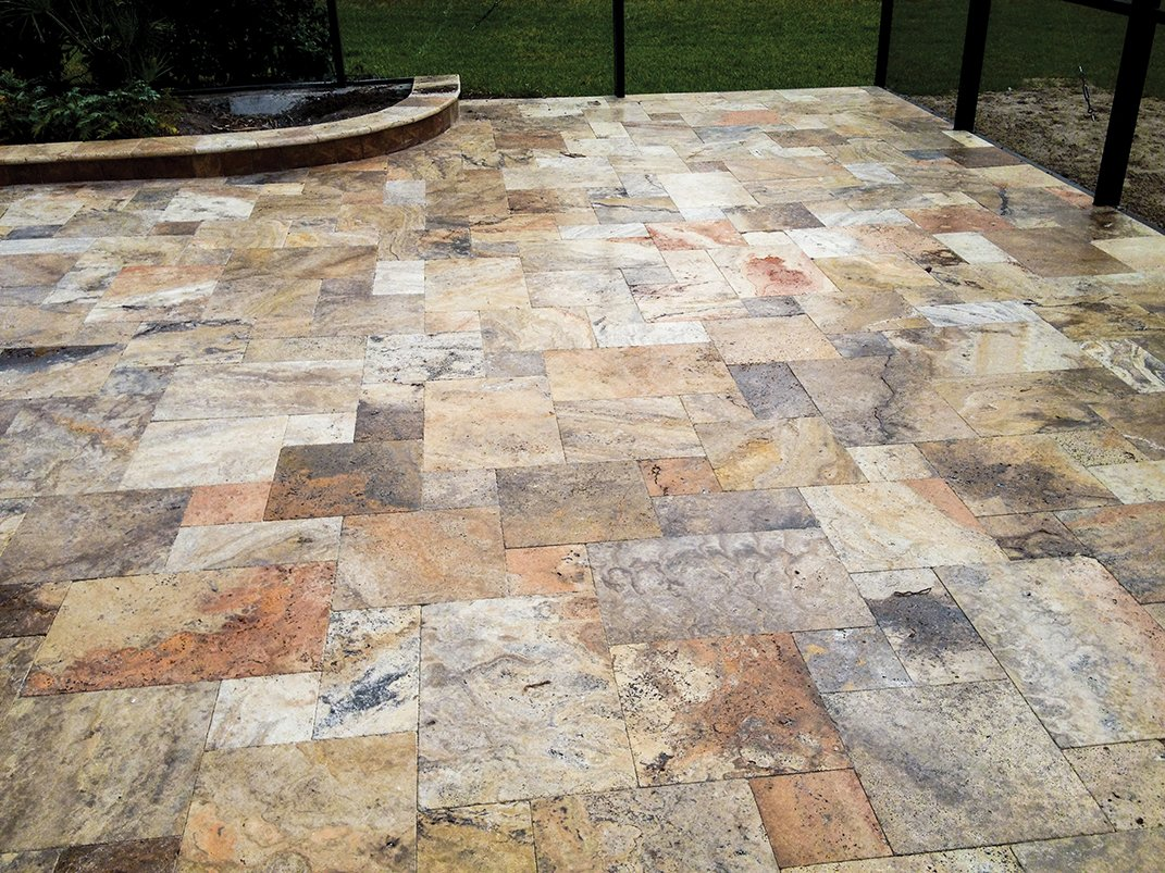 Autumn French Pattern Pavers Installed Outdoors